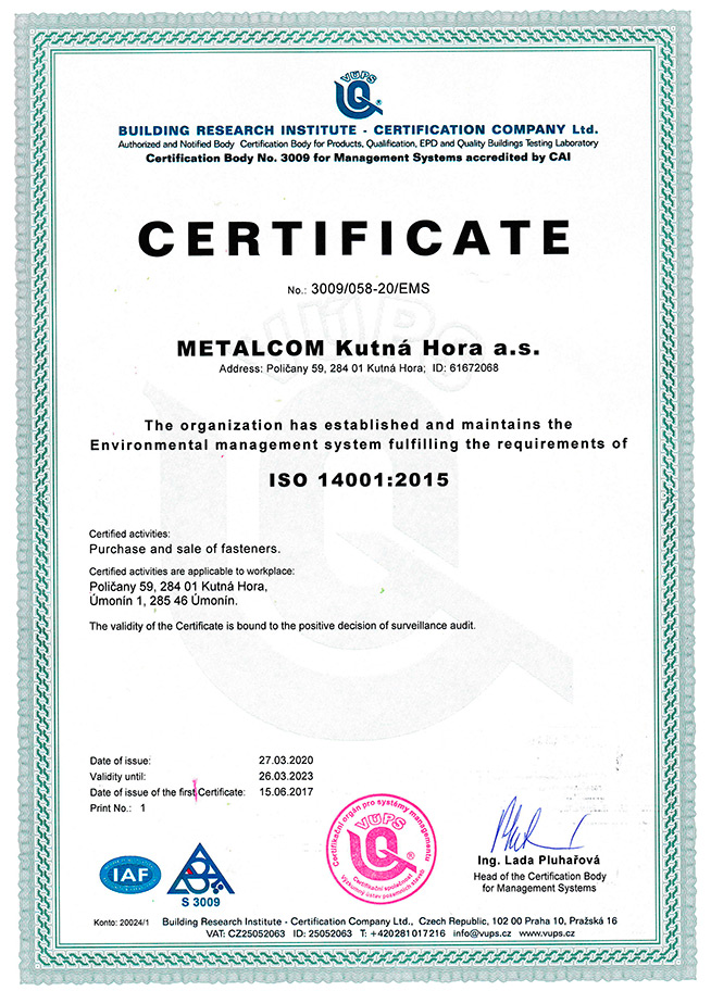Certificate ISO 9001 Metalcom Kutná Hora a.s.