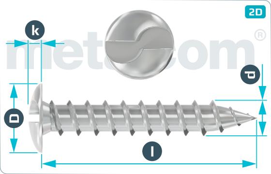 Bezpečnostné skrutky do plechu s poľgulatou hlavou pre jednorazové použitie - RuKo