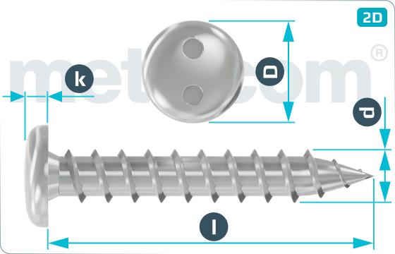 Bezpečnostné skrutky do plechu s nízkou zaoblenou hlavou a 2 dierami - RuKo