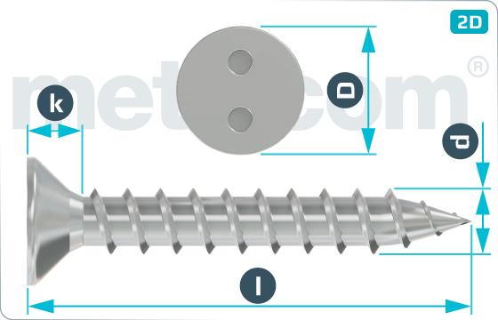 Bezpečnostné skrutky do plechu so zápustnou hlavou a 2 dierami - SeKo