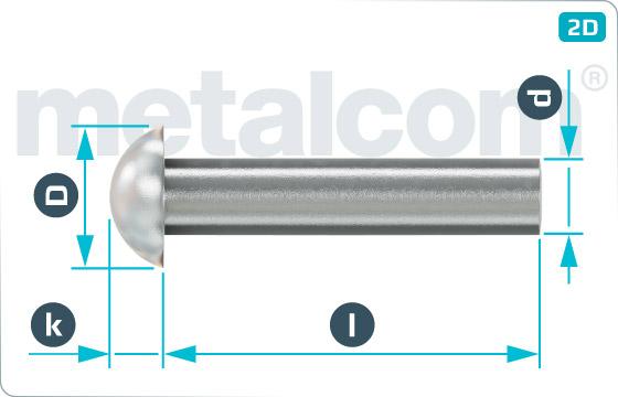 Nýty klasické s půlkulatou hlavou plochou - DIN 124
