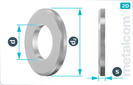 Plain washers for hexagon head bolts and nuts with chamfer - DIN 125
