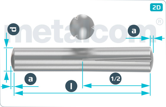 Grooved pins taper grooved half length - DIN 1472