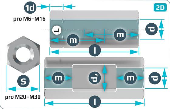 Napínače matice šestihranné pro napínače - DIN 1479 SP