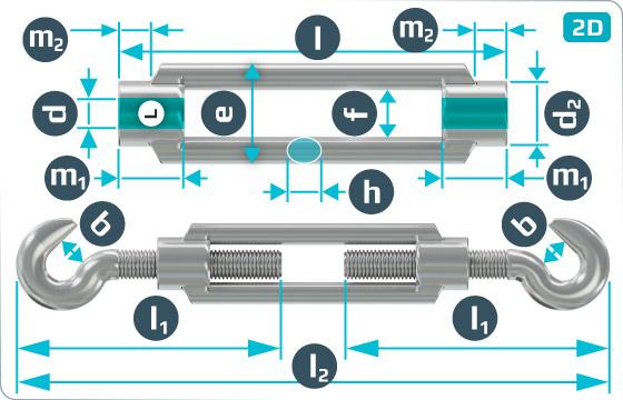 Napínače provedení hák-hák - DIN 1480 HH