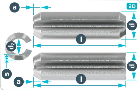 Kolíky pružné se štěrbinou pro velké zatížení - DIN 1481