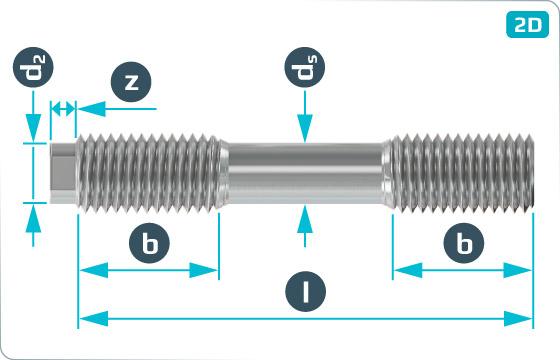 Svorníky a třmeny svorníky s redukovaným dříkem na přírubové spoje - DIN 2510 L