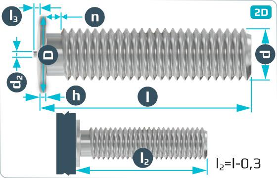 Kolíky s hlavou přivařovací se závitem - DIN 32501 PT