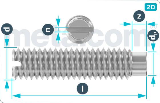 Skrutky nastavovacie s drážkou a čípkom - DIN 417