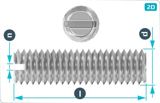 Skrutky nastavovacie s drážkou a plochým koncom - DIN 551