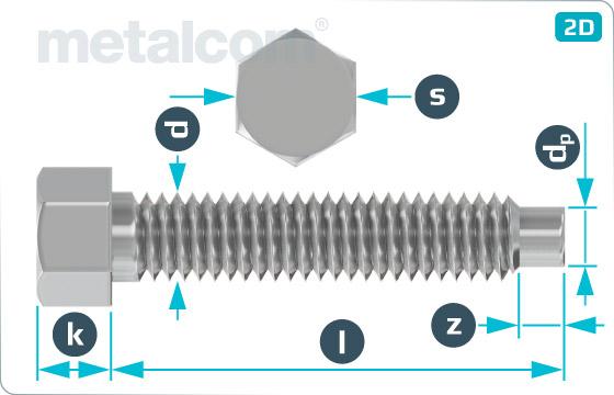 Skrutky so šesťhrannou hlavou odtlačovacie s čípkom - DIN 561