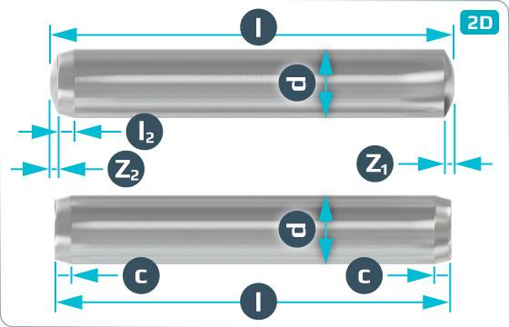 Kołki cylindryczne hartowane - DIN 6325 m6