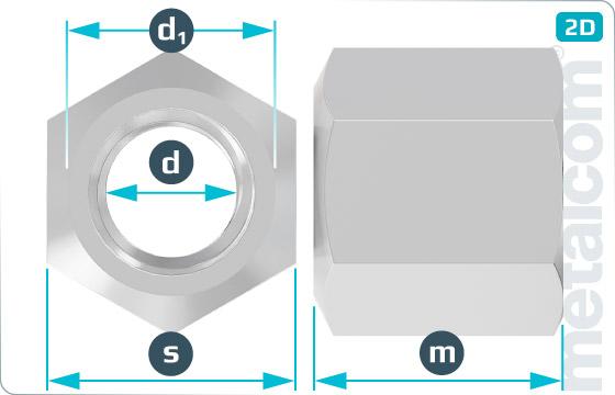 Hexagon nuts height of 1,5d - DIN 6330 B