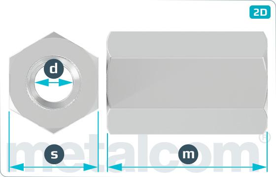 Matice šestihranné prodlužovací 3d - DIN 6334