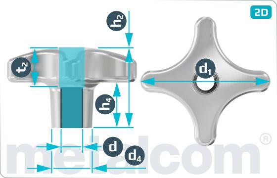 Matice pro ruční utahování křížové otočné - DIN 6335 D