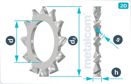 Podložky ozubené s vnějším ozubením - DIN 6797 A