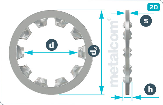 Podložky ozubené s vnútorným ozubením - DIN 6797 J