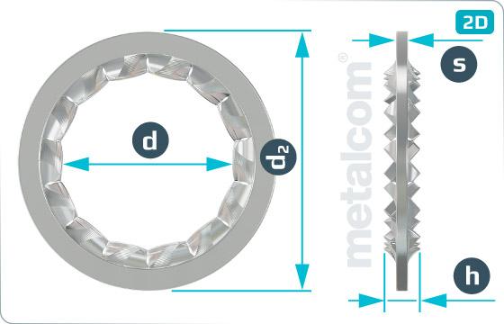 Podložky vějířovité s vnitřním ozubením - DIN 6798 J