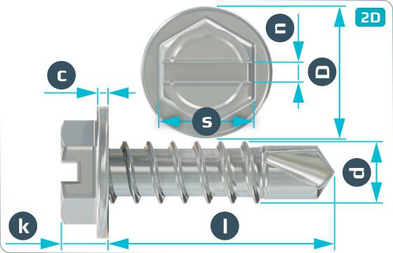 Šrouby samovrtné se šestihrannou hlavou a průběžnou drážkou - DIN 7504 L