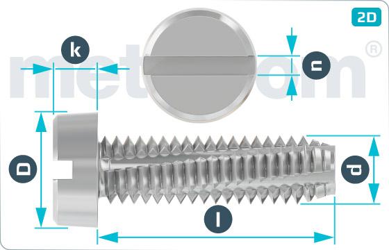 Šrouby závitořezné s válcovou hlavou a drážkou - DIN 7513 B