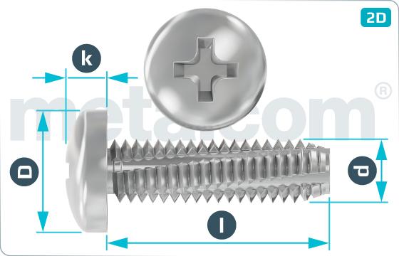 Šrouby závitořezné s půlkulovou hlavou a křížovou drážkou - DIN 7516 A-H
