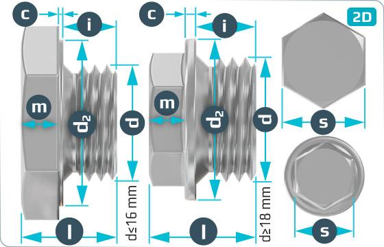 Śruby z łbem sześciokątnym korki z krótkim gwintem cylindrycznym - DIN 7604 A
