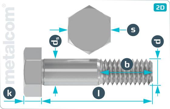Šrouby se šestihrannou hlavou lícované pro ocelové konstrukce - DIN 7968