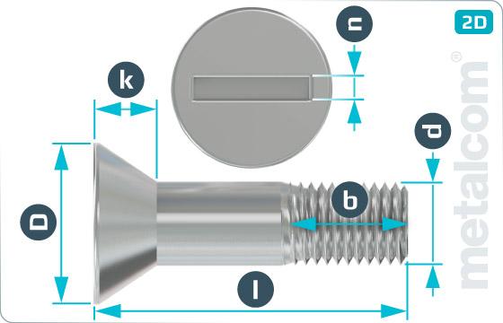 Šrouby s průběžnou drážkou se zápustnou hlavou pro ocelové konstrukce - DIN 7969 Mu