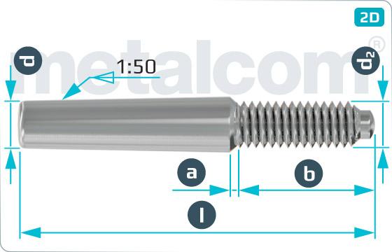 Kolíky kuželové s vnějším závitem nekalené a konstantní délkou závitového čepu - DIN 7977
