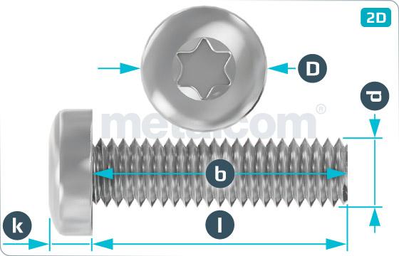 Hexalobular internal drive (TORX)screws raised cheese head - DIN 7985 TX