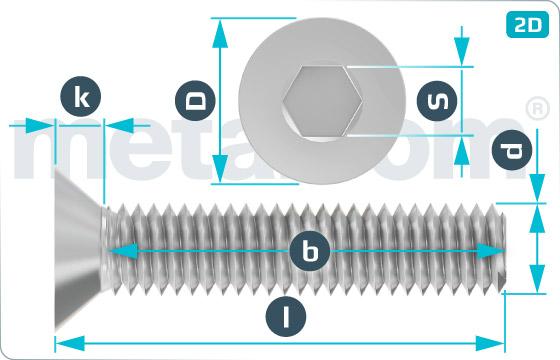 Šrouby s vnitřním šestihranem a zápustnou hlavou - DIN 7991