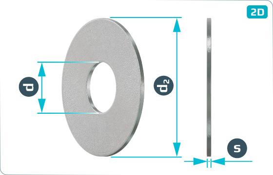Flachscheiben Außendurchmesser 3 d - DIN 9021