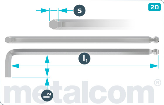L-Klíče pro šrouby s vnitřním šestihranem s kulovou hlavou, dlouhé - DIN 911 L-Kugel