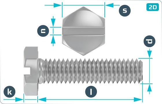 Skrutky so šesťhrannou hlavou so závitom k hlave a drážkou - DIN 933 Schlitz