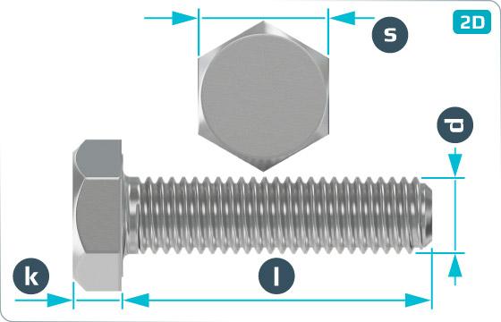 Śruby z łbem sześciokątnym z gwintem drobnozwojnym metrycznym na całej długości trzpienia - DIN 961