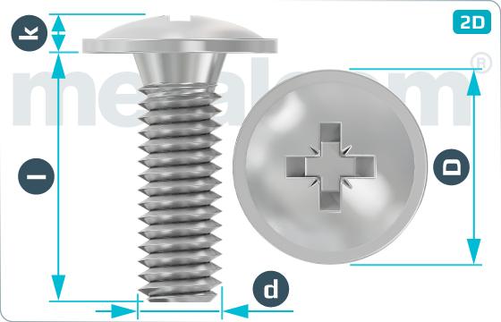 Skrutky s krížovou drážkou s poľgulatou hlavou a prírubou - DIN 967 Z