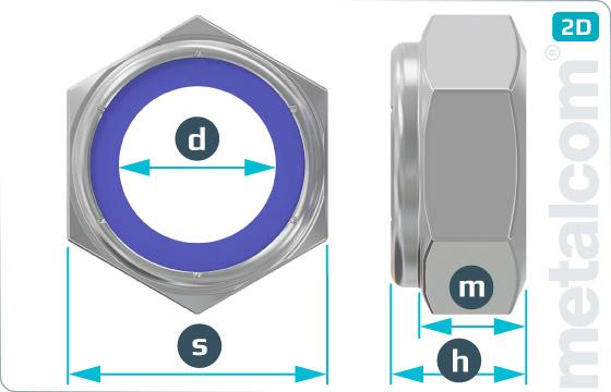 Sechskantmuttern mit Klemmteil und nichtmetallischem Einsatz (niedrige Form) - DIN 985