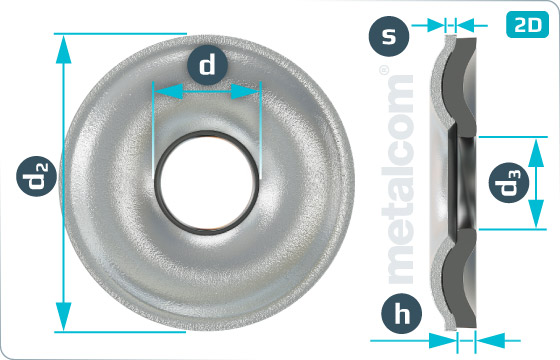 Sealing washers with EPDM sealing for countersunk screws