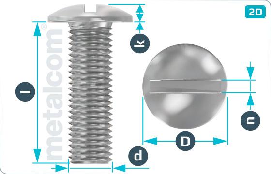 Šrouby s průběžnou drážkou s plochou zaoblenou hlavou - FlachRuSchr