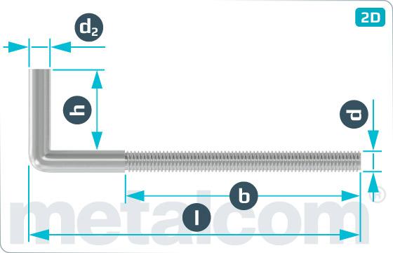 Hooks square with metric thread, type 4E - Typ4E