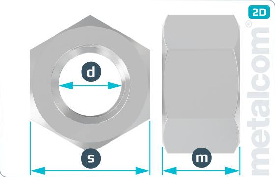 Sechskantmuttern 1 d hoch - ISO 4033