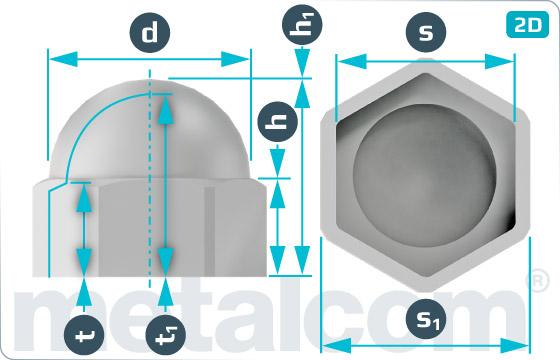 Krytky na šesťhranné skrutky a matice - Weiss, Grau, Schwarz