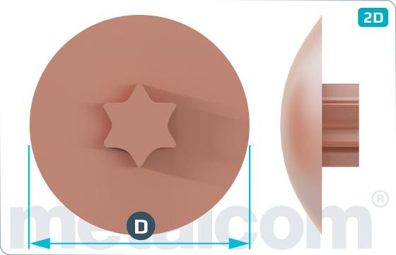 Caps for countersunk hexalobular internal drive (TORX) screws - Weiss, Hellbraun, Dunkelbraun, Rehbraun