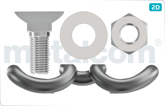 Komplety Svěrka Skl12, šroub RS0 K092234, matice M22 K072201D, podložka 23 Uls6 - KompletSkl12