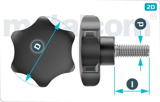 Šrouby pro ruční utahovaní s šestiúhelníkovou hlavou - Typ 3