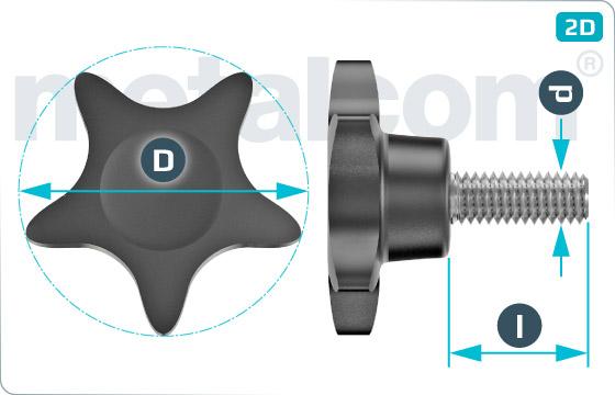 Šrouby pro ruční utahovaní s pětiúhelníkovou hlavou - Typ 4