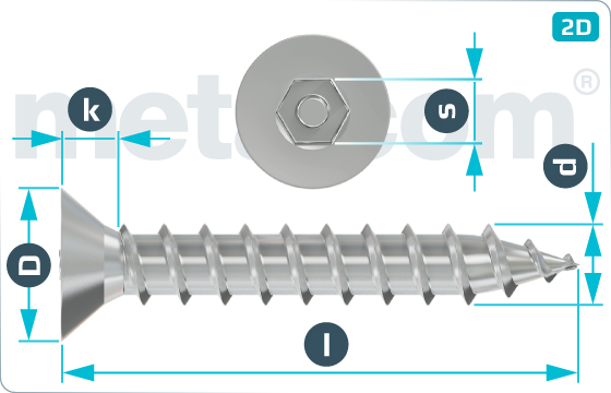 Security screws tapping hexagon socket countersunk head screws - SeKo
