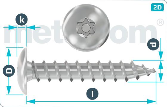 Bezpečnostné skrutky do plechu s nízkou zaoblenou hlavou a drážkou TORX - RuKo