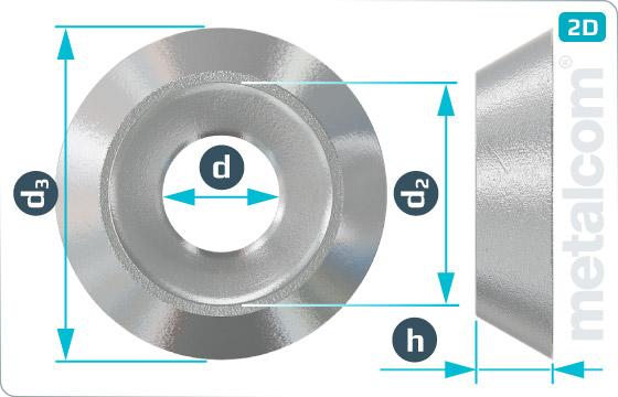 Podložky pro zápustné hlavy rozety otevřené R1 - R1