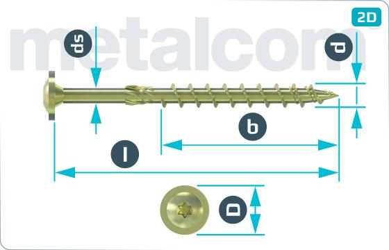 Wkręty do konstrukcji drewnianych z łbem płaskim, podkładką integrowaną i TORX nacięciem - Scheibenkopf